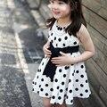 Kids Girls Polka Dot Chiffon Sundress Toddler Tunic Bowknot Belt Dress