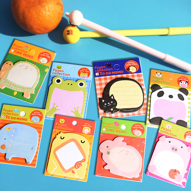 Animal Sticky Notes Cat Panda Elephant Chicken Rabbit Pig Sticker Memo Notebook Bookmark Decor Office School Stationery Supplies