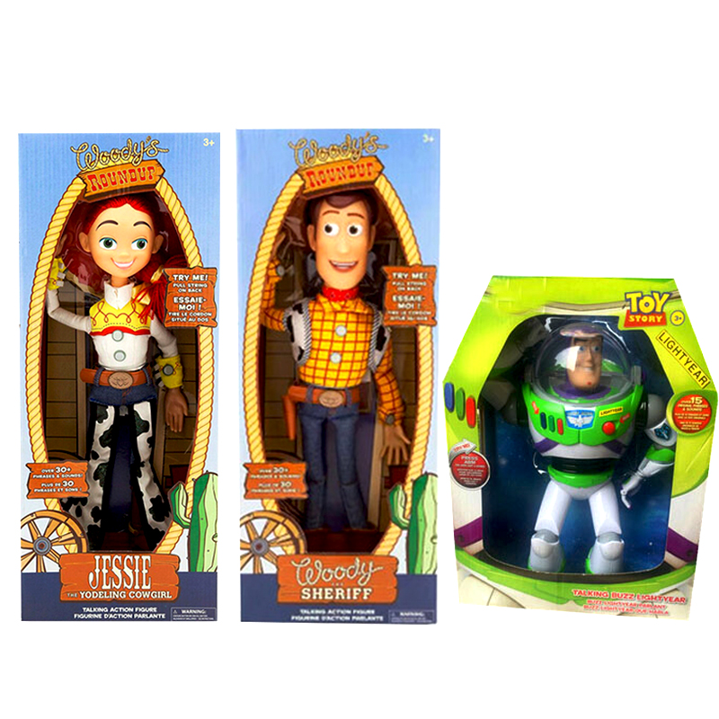44cm Toy Story 4 Talking Woody Jessie BUZZ Lightyear PVC Action Toy Figures Model Speaking Sheriff Woody Collectible Doll Sound image