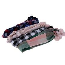 Детский удобный кашемировый твидовый шарф в клетку с плюшевым