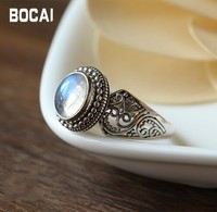 Nepal 925 sterling silver inlaid natural Moonstone Ring
