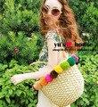 Bola multicor palha saco rattan saco tecido saco de sacos de praia sacos de moda bolsa bolsa de ombro das mulheres