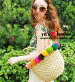 Multicolour ball straw rattan bag woven bags beach bags fashion women's handbag shoulder bag