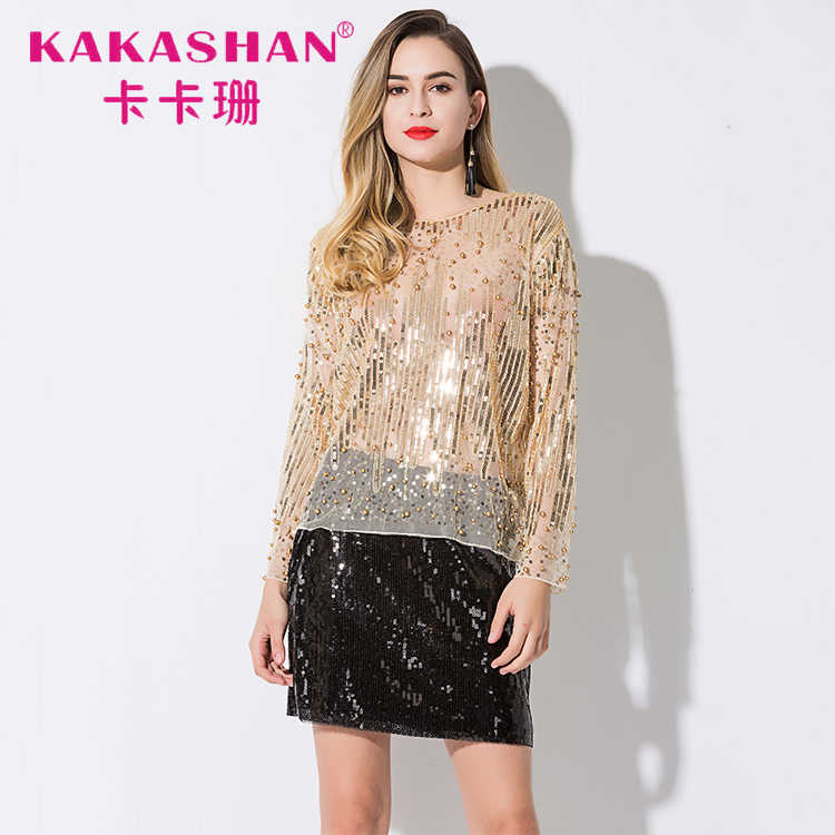 5c6a8198670 ... 2018 Runway Sexy Sequined Bead Sheer Mesh Lace Long Sleeve Shirt  Vintage Embroidery Embellished Blouse Top ...