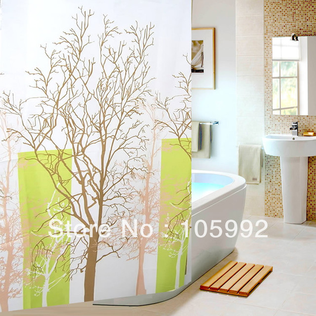 beautiful shower curtains tree branch pattern polyester fabric bath thickening waterproof terylene shower curtain 180 - Beautiful Shower Curtain