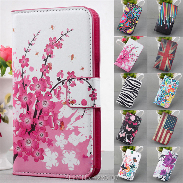 Deluxe Printed Watercolor Leather Magnetic Stand Wallet Slot Cover Flip Case Samsung Galaxy Note 2 3 HTC One M8 Flower - Deal Special store