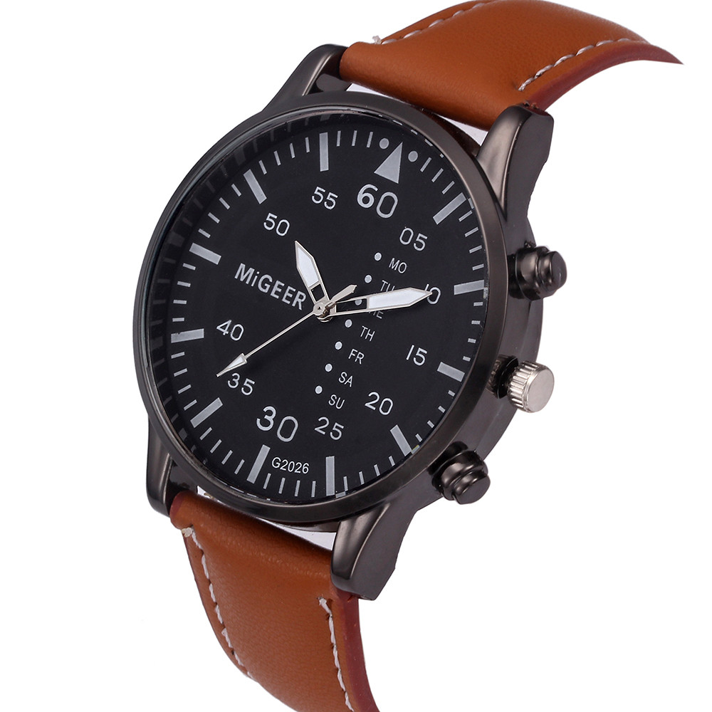 MIGEER 2017 Mens watches Retro Design Leather Band Analog Alloy Quartz Wristwatch top brand luxury clock Relogio Masculino