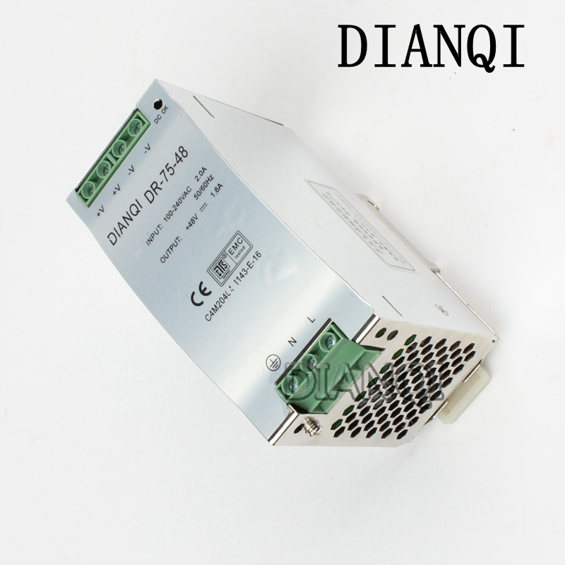 DIANQI Din rail power supply 75w 48V power suply 48v 75w ac dc converter dr-75-48 good quality dianqi s 1000 48 power suply output 48v 1000w 48v 20a power supply transformer ac to dc power supply input 110v or 220v
