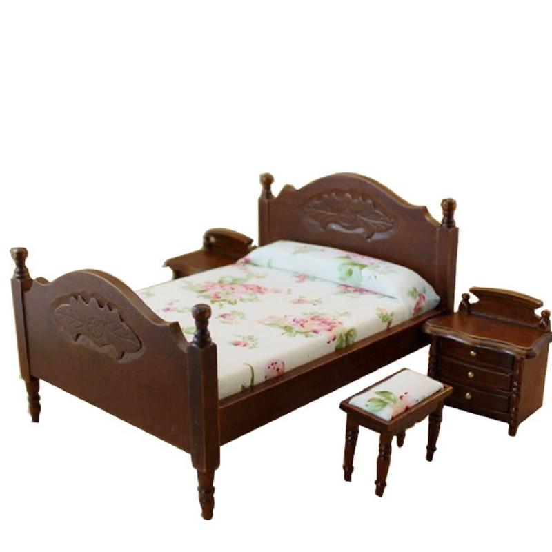 Hot Selling Dollhouse Miniature Bedroom Furniture Bed & 2 Bedside ...