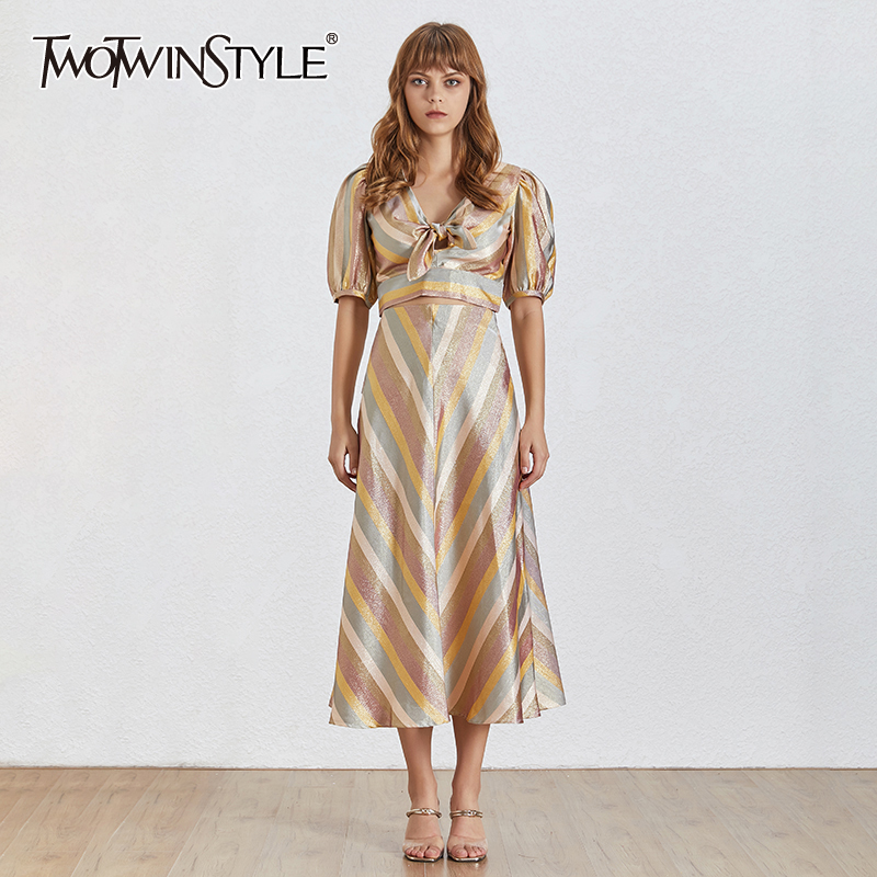 TWOTWINSYTLE Elegant Hit Color Striped Women Suit V Neck Puff Sleeve Bowknot Tops High Waist Midi