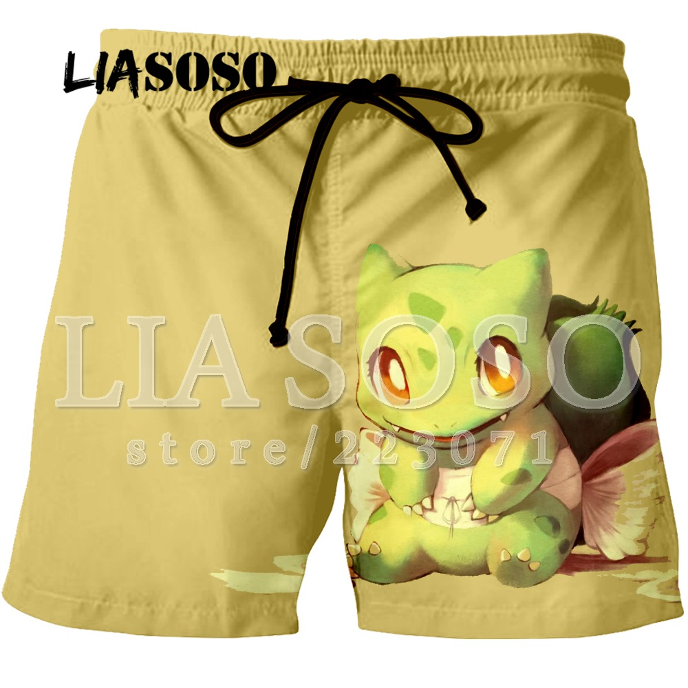 LIASOSO Summer Men And Women Shorts 3D Animation Cute Pikachu Color Printing Beach Fitness Men's Shorts Brand ClothingK005