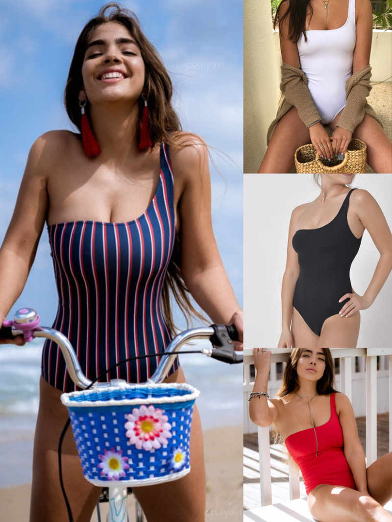c741a474213b1 solid colors Swimwear Women 2018 one shoulder One Piece suits Sexy striped  Bathing SwimSuit Push Up