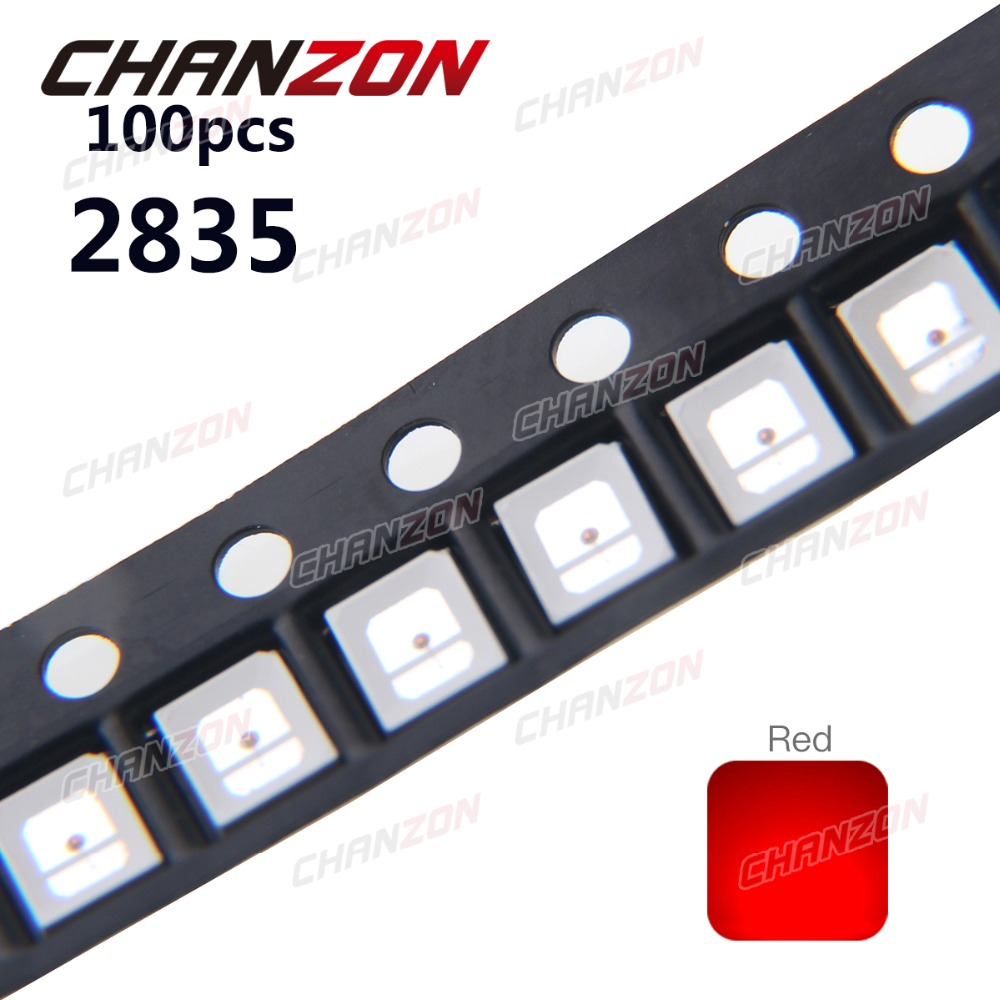 100pcs <font><b>SMD</b></font> <font><b>2835</b></font> <font><b>LED</b></font> Chip Red Light 30mA 0.1W SMT Surface Mounted Device Bead <font><b>LED</b></font> Light Emitting Diode Lamp Electronic Components image