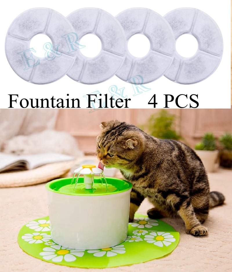 Pet Cat Fountain Filter 4pcs Activated Carbon Filters Charcoal Filter Replacement For Fountain For Cat Dog Pets Drinking Water