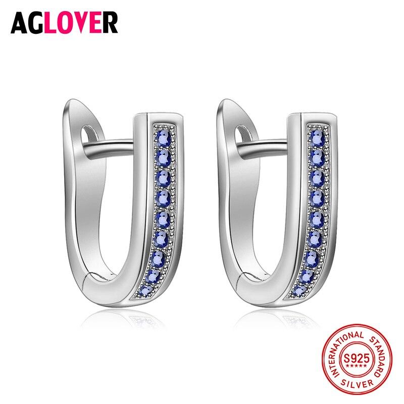 Clear Sapphire CZ Fashion Original 100% 925 Sterling Silver Hoop Earrings Jewelry Luxury U Shape Earrings For Women