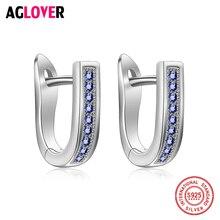 Прозрачный Сапфир CZ модные оригинальные 925 пробы серебряные серьги-кольца ювелирные изделия Роскошные u-образные серьги для женщин