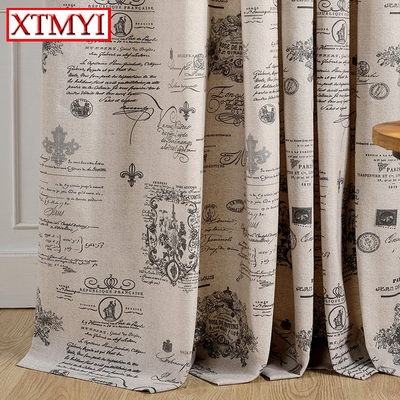 European linen beige blackout curtains for living room window ...