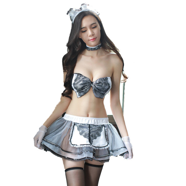 Women French Cosplay Maid Uniform Lingerie Sexy Halloween Costume Set Uniform Dress Women Cosplay Exotic AD411