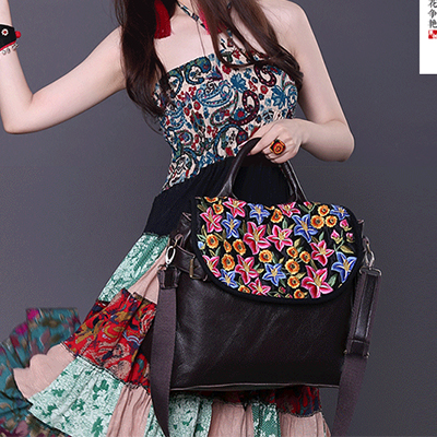 2017 New Vintage Ethnic Embroidery hand Bag Women's shoulder messenger cross body bag Embroidered big travel flap handbags lady ткань портьерная garden выс 290см бежевый