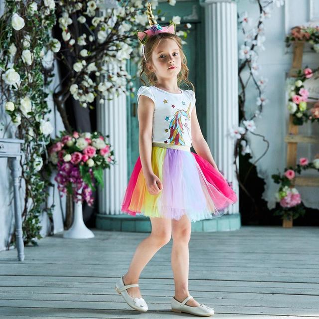 3-8 tuổi Lạ Mắt Thiết Kế Ngôi Sao Kỳ Lân cho Bé Gái Công Chúa Unicornio Đầm Dự Tiệc Mùa Hè Trẻ Em Áo cho Bé Gái lễ Phục sinh Trang Phục
