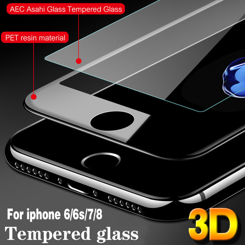 3D Glass For Iphone 6 Protecting Glass For Iphone 6 6S 7 eight Plus X Glass On Iphone 6S Full Display screen Protection Safety 9H Tempered