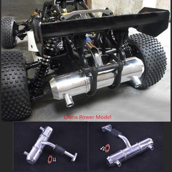 tubo de escape de aluminio con doble orificio de aumento de potencia para tubo sintonizado para escala 1/5 HPI KM ROVAN BAJA 5B 5T 5SC
