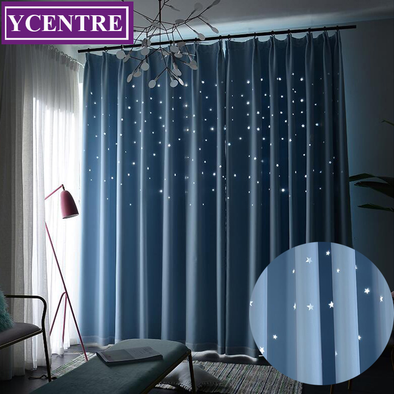 YCENTRE Custom Made Star Blackout Double-Deck Curtains For Living Room Bedroom Window Curtain Blinds Stitched With White Voile