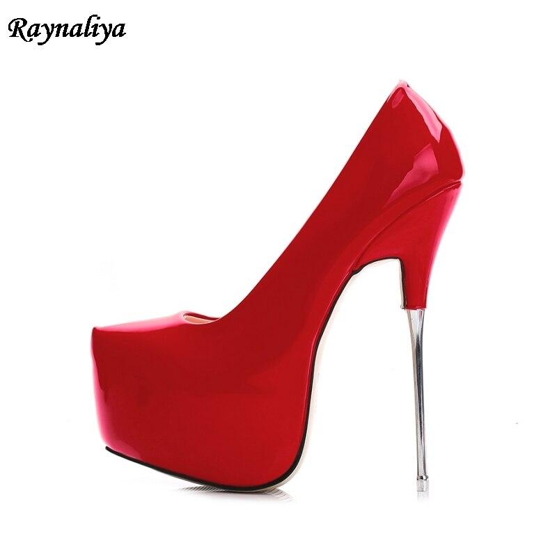 2da73e4587776 Scarpe Heel Della Pompe 35 16cm Estremo 16 Cm 44 a0009 Height Pelle Ms Sposa  Talloni Verniciata Height Rosso Da 16cm Tacchi Donne ...