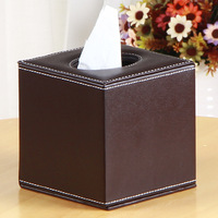 Multifunctional Tissue Box Apricot Black Coffee PU Leather Square Paper Rack Storage Box Home Car Napkins Holder Organizer