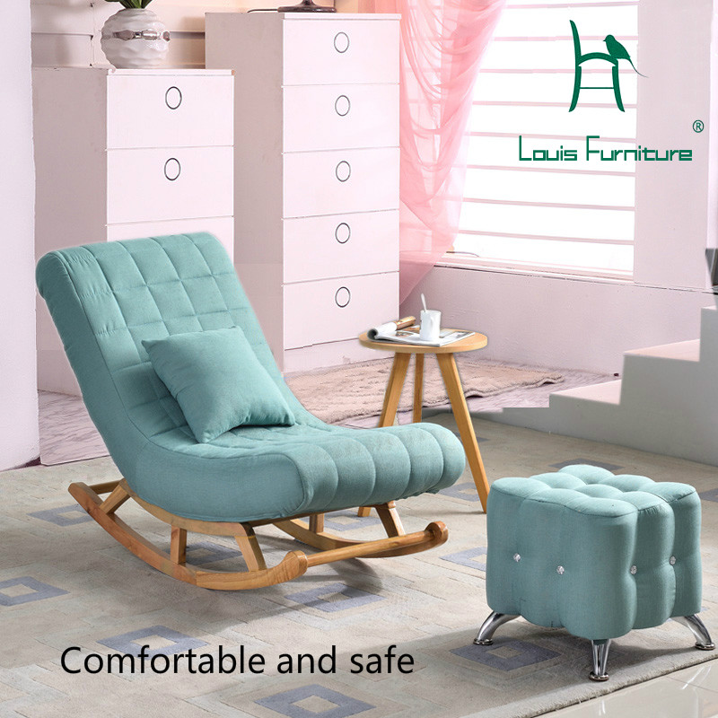 lowest price 900df 0ebbb US $169.0 |Louis Fashion Living Room Furniture Single Rocking Chair Sofa  European Solid Wood Old Man Easy Adult Lazy-in Living Room Chairs from ...