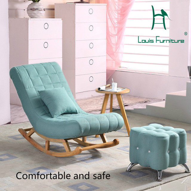 sofa rocking chair blue leather sleeper louis fashion living room furniture single european solid wood old man easy adult lazy