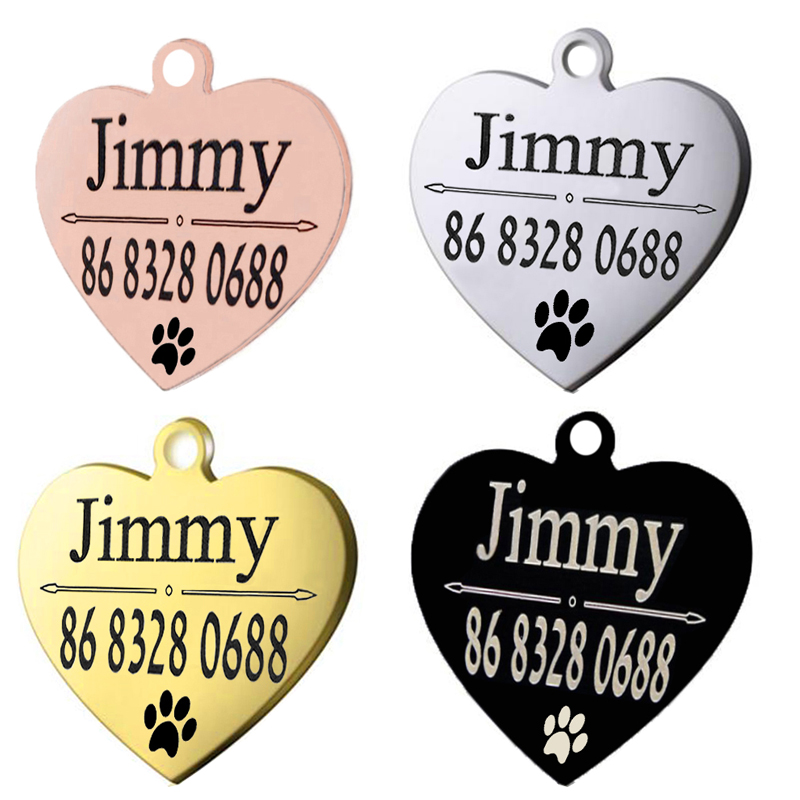 Dog Collar Tag With Shield Shape Personalized Engraved Pet ID Name Tag 2 Colors
