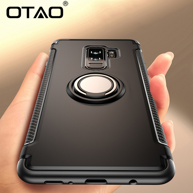 OTAO Shockproof Armor Phone Case For Samsung S9 S8 Plus S7 Edge J3 J5 J7 2017 J4 Cases Note 9 8 Magnetic Car Ring Holder Cover