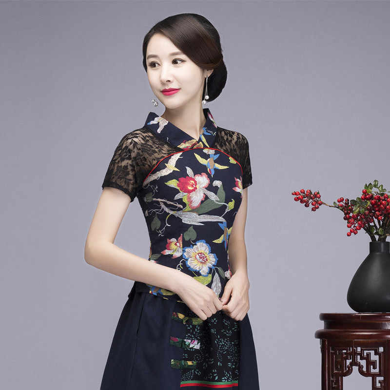 fe09cf4ac6396 Sexy Black Lace Summer Women Shirt Top Chinese Style Cotton Linen ...