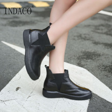 Womens Leather Boots Black Winter Slip on Ankle for Women 3cm