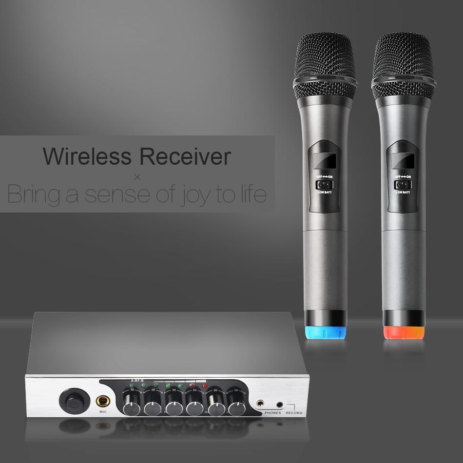 KEXU UHF Microphone à main sans fil double canal, système de Microphone sans fil karaoké facile à utiliser pour fête de famille, église - 5