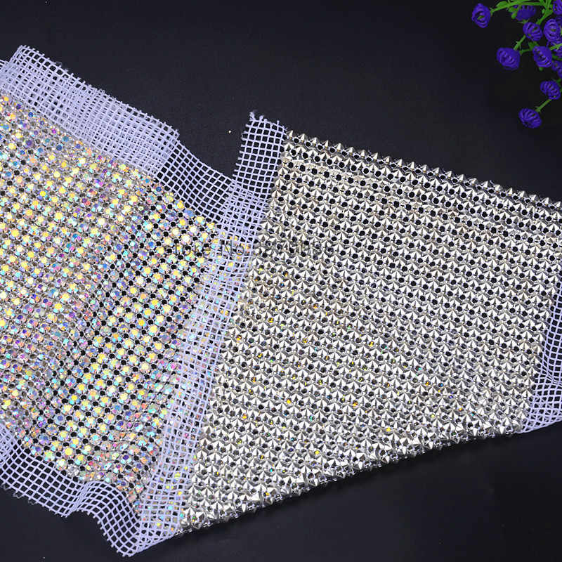 036e7ce0d1 1yards/roll Bling bling 24 rows AB color stone Crystal rhinestone mesh  trimming chain Silver base White fabric DIY sewing lace