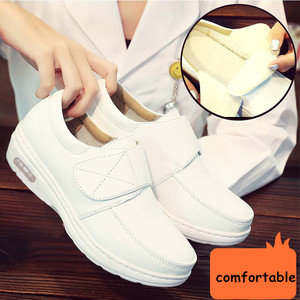 Image 3 - YAERNI Air Cushion Fall Winter Nurse Shoes Womens Platform Sneakers 2019 White Split Leather Loafers Women Moccasins with Fur