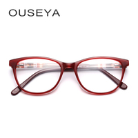 Acetate Spectacle Frame Glasses Women Vintage Trendy Clear Transparent No Degree Retro Women Frame For Eyeglasses