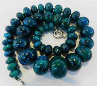 Очаровательная! 10-20 мм Azurite Камень Феникса Круглые бусины ожерелье