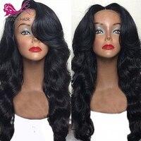 EAYON предварительно сорвал объемная волна Синтетические волосы на кружеве парики человеческих волос 130% плотность бразильские волосы Синтет