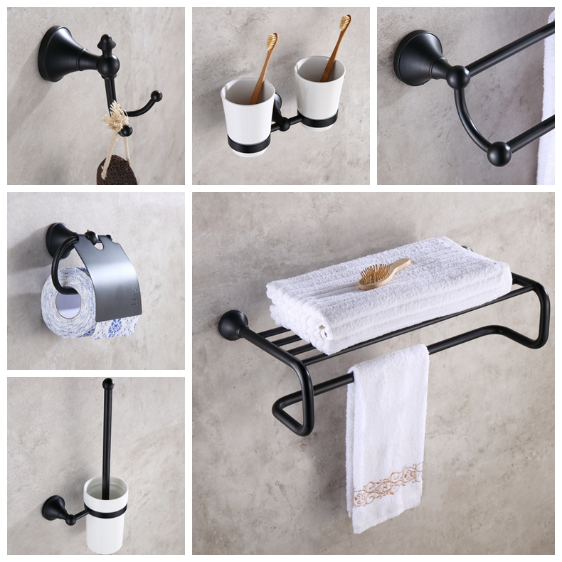 Bathroom Accessories Set Hardware Towel Shelf Soap Holder Towel Holder Grab Bar Toilet Paper Holder Oil Rubble Bronze Finished
