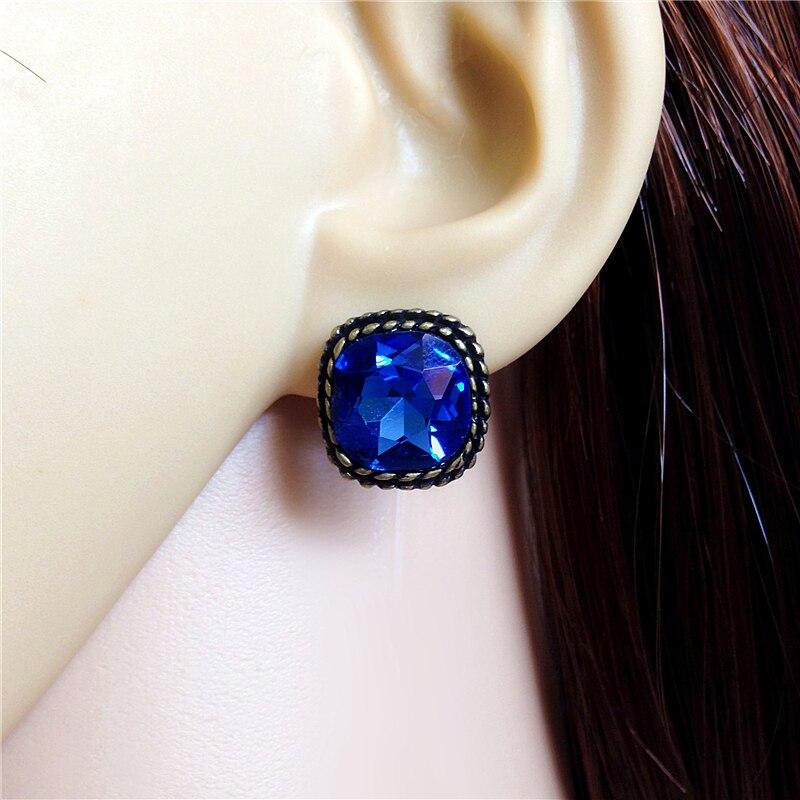 Cheap Brand Bronze Square Blue Rhinestone Glass Crystal Discount Earrings Pendientes Bri ...