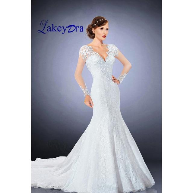 00e589b0f Lakeydra Mermaid Wedding Dresses V Neck White Vestidos De Noiva Lace Pearls  Illusion Long Sleeves Bridal