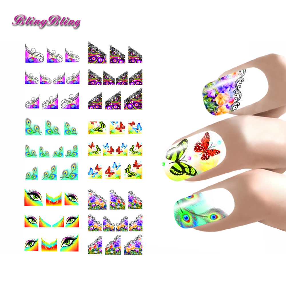 6 sheets Nail Art Sticker Set Water Decals For Nails Decoration Half ...