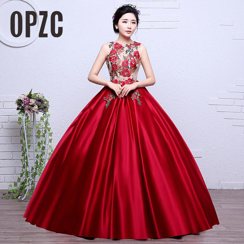 Colorful Organza Hot Sale New Style Red Embroidery Girls Wedding Dress 2017 O-neck Bridal Boat Gown Vestidos De Novia