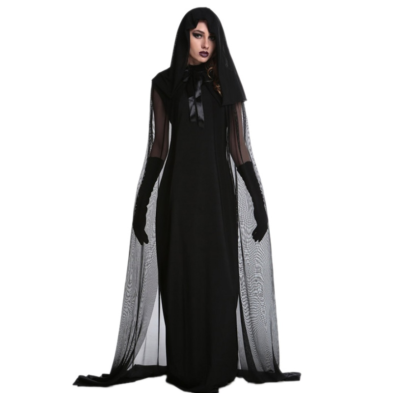 1 set 2019 Female Halloween Witch Plus Size Long Dress Costume Autumn Winter Black Dresses(with hat and gloves)
