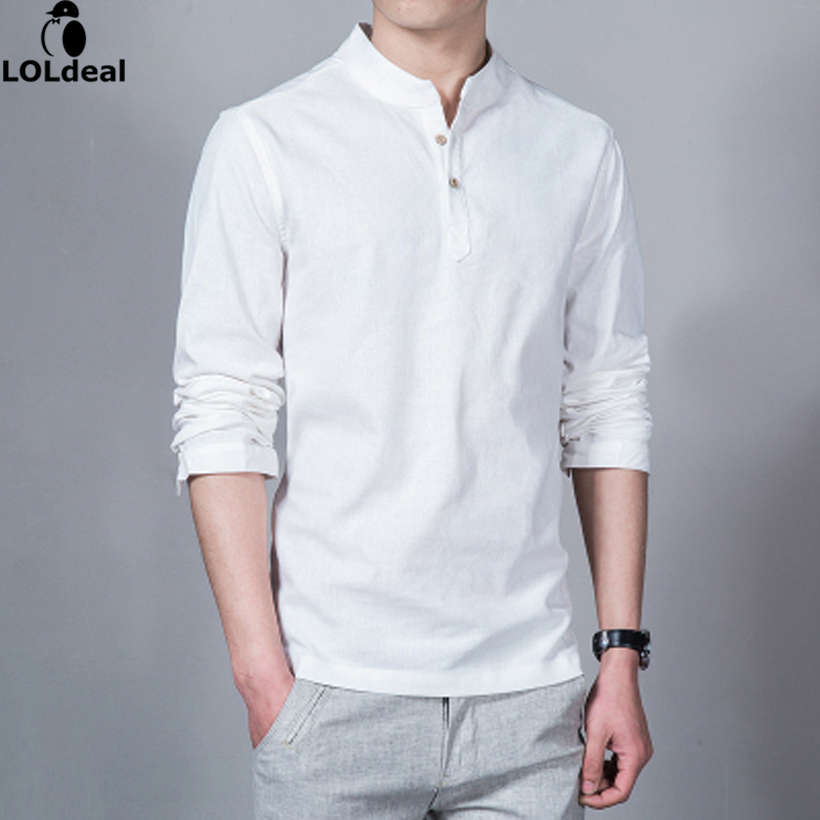 Loldeal 2018 Fashion Long Sleeve Men's Shirts Male Casual Linen Shirt Men  Asian Size Camisas