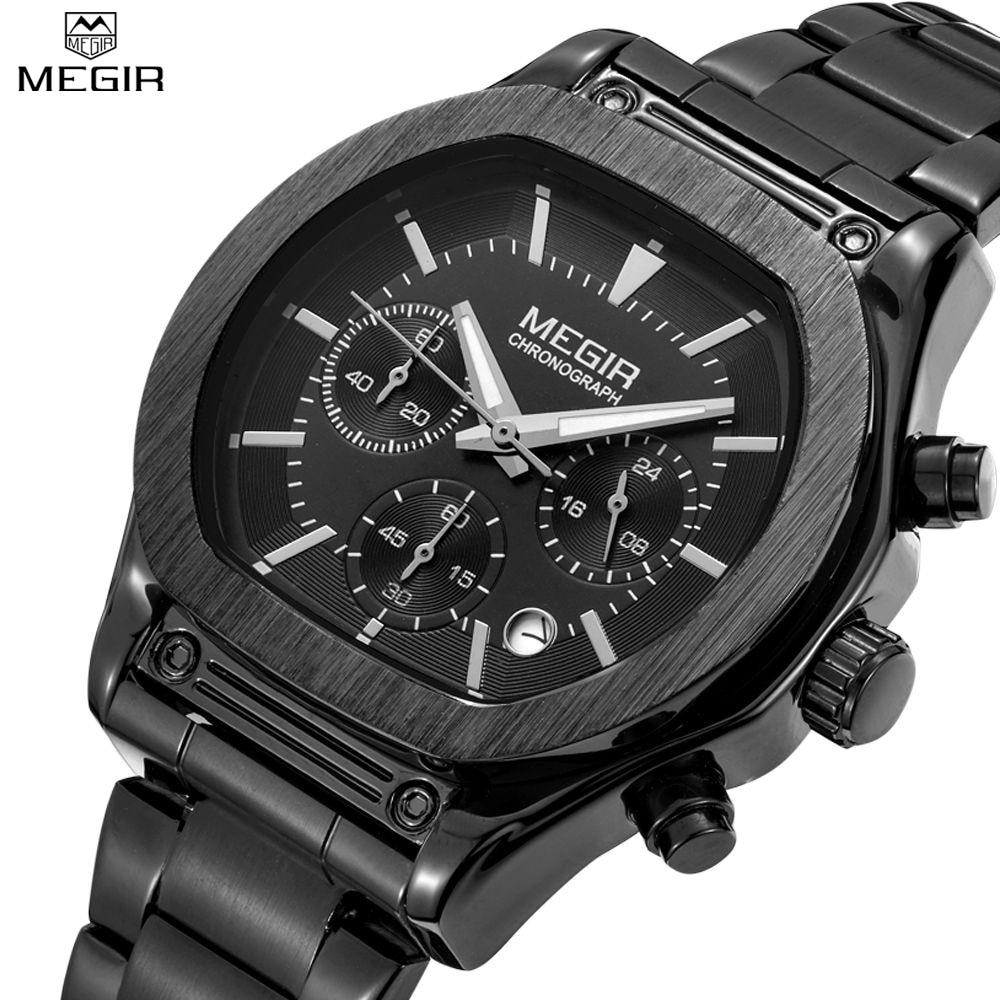 ФОТО MEGIR 3014 Men's Chronograph Luminous Stainless Steel & Leather Quartz Wristwatch Casual Waterproof Military Sport Watch for Man