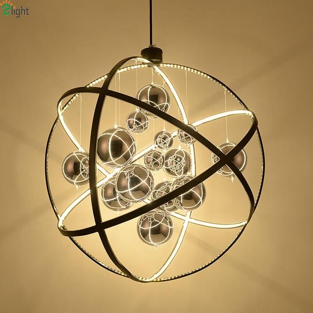 Nordic Globe Metal Led Pendant Chandeliers Lighting Lustre Chrome Glass Ball Dining Room Led Chandeliers Lamp Led Hanging Lights